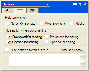 Lotus notes-action hide