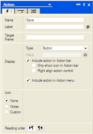 Lotus notes-new action