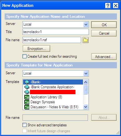 Lotus notes-new application